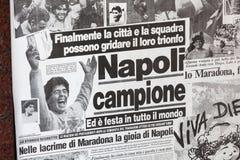 1987 Napoli gana la taza italiana con Maradona Fotografía de archivo libre de regalías