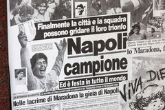 1987 Napoli ganha o copo italiano com Maradona Fotografia de Stock Royalty Free