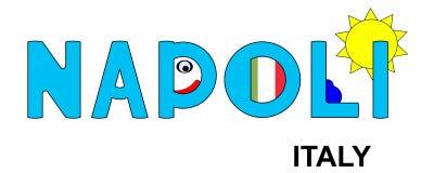 Napoli - Italien, abstrakte Aufschrift im Blau stockfoto