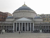 Napoli, Italy. Landscape at the famous square Piazza del Plebiscito. Evening time royalty free stock photography