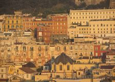 Napoli, Italy. Wonderful landscape on the city and its districts. During sunrise Royalty Free Stock Image