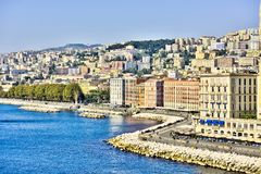 Napoli Naples and mount Vesuvius in the background in a autumn day, Italy, Campania ,Europe. Napoli Naples and mount Vesuvius in the background in a autumn day stock images