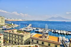 Napoli Naples and mount Vesuvius in the background in a autumn day, Italy, Campania ,Europe. Napoli Naples and mount Vesuvius in the background in a autumn day royalty free stock photos