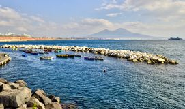 Napoli Naples and mount Vesuvius in the background in a autumn day, Italy, Campania ,Europe. Napoli Naples and mount Vesuvius in the background in a autumn day stock image
