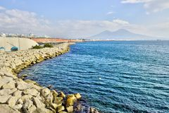 Napoli Naples and mount Vesuvius in the background in a autumn day, Italy, Campania ,Europe. Napoli Naples and mount Vesuvius in the background in a autumn day royalty free stock photo