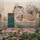 Napoli, ospedale psichiatrico giudiziario dei murales Fotografia Stock Libera da Diritti
