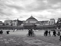 Napoli. Piazza plebiscito b&w Italia Italy Stock Images
