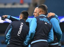 Napoli players take a selfie. Football players pictured during the UEFA Champions League Group F game between Manchester City and Napoli on October 17, 2017 at Stock Photography