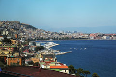 Napoli view on port on sunset Royalty Free Stock Photo