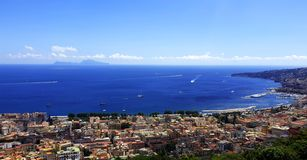 Napoli Vista del Mar Mediterraneo fotografia stock