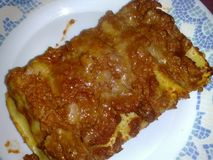 Napolitaanse gebakken deegwaren, gemaakt lasagna'shuis Stock Fotografie