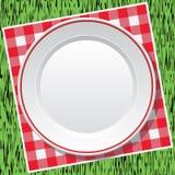 Nappe et plat vide sur l'herbe verte Image stock
