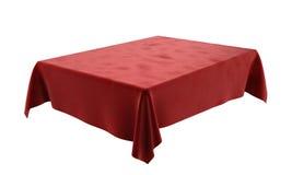Nappe rectangulaire de velor rouge pour la table sur le blanc Images libres de droits