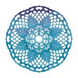 Napperon de dentelle élégant d'aquarelle Mandala de crochet Photos stock