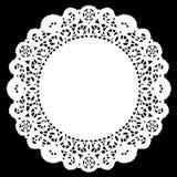 napperon rond de lacet de +EPS, blanc Image libre de droits