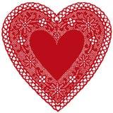 napperon rouge de coeur de lacet de +EPS sur le fond blanc Image stock