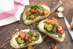 Appetizer bruschetta with chopped vegetables, Mascarpone and pesto sauce on ciabatta . rustic weathered wood background Stock Photos