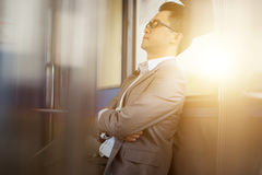 Napping inside train Stock Images