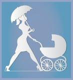 napping Mulher que anda com um transporte de bebê Arte de papel Fotos de Stock Royalty Free