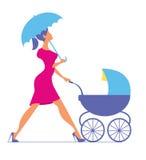 napping Mulher que anda com um transporte de bebê Silhueta do vetor Fotografia de Stock Royalty Free