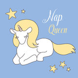 Napping Unicorn. Cute magical , lovely graphics for t-shirts, greeting card, good vibes Royalty Free Stock Photo