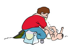 Nappy change. Man targeted during nappy change Royalty Free Stock Photography