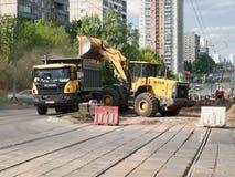 Napraw pracy na zastępstwie tramwaje Obrazy Royalty Free