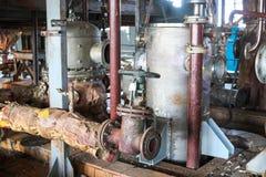 Naprawa chemiczny proces wyposażenie rurociąg, pompy, zbiorniki, upałów exchangers, flansze i klapy przy substancją chemiczną, fotografia stock