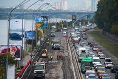 Naprawa drogi w Kijów Fotografia Royalty Free