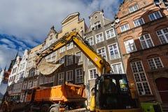 Naprawia drogę, Gdańską Obraz Royalty Free