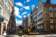 Naprawia drogę, Gdańską Obraz Stock