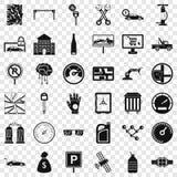 Naprawianie samochodowe ikony ustawiać, prosty styl ilustracja wektor