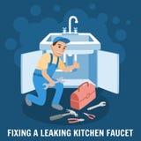 Naprawianie wycieku kuchni Faucet również zwrócić corel ilustracji wektora royalty ilustracja
