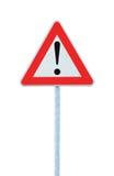 naprzód niebezpieczeństwo odizolowywał innego słupa drogowego znaka ostrzeżenie Zdjęcie Royalty Free