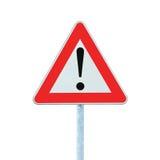 naprzód niebezpieczeństwo odizolowywał innego słupa drogowego znaka ostrzeżenie Zdjęcia Stock