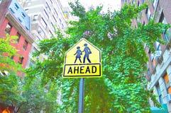 Naprzód znak przy NYC drogą obraz royalty free