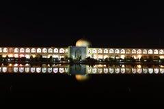 Naqsh-e Jahan清真寺夜视图在Esfahan,伊朗 2016年9月14日 免版税库存照片