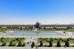 Naqsh-e Jahan清真寺Pranoramic视图在Esfahan,伊朗 免版税库存图片
