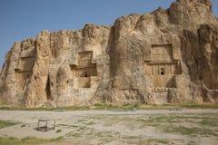 Naqsh-e Rostam, ancient necropolis in Iran. Naqsh-e Rostam, ancient necropolis located about 12 km northwest of Persepolis, in Fars Province, Iran stock photography