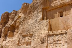 Naqsh-e Rustam, Iran. Achaemenid tombs. The necropolis of the Achaemenid dynasty, with large tombs cut high into the cliff face royalty free stock photos