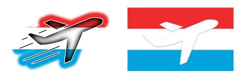 Naród flaga Luksemburg - samolot odizolowywający - royalty ilustracja