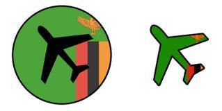 Naród flaga zambiowie - samolot odizolowywający - royalty ilustracja