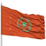Nara Capital City Flag sur le mât de drapeau, volant dans le vent, d'isolement sur le fond blanc Image libre de droits