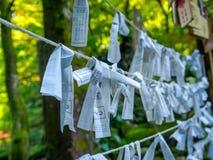 Nara, Japão - 26 de julho de 2017: Pedaço de papel bonito e pequeno da oração no templo de Todai Ji, pedaços de papel pequenos us Foto de Stock Royalty Free