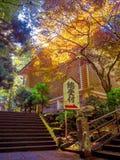 Nara, Japão - 26 de julho de 2017: Sinal informativo com letras do japanesse em um parque com, paisagem do outono, amarelo, alara Fotos de Stock