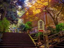 Nara, Japão - 26 de julho de 2017: Sinal informativo com letras do japanesse em um parque com, paisagem do outono, amarelo, alara Fotos de Stock Royalty Free