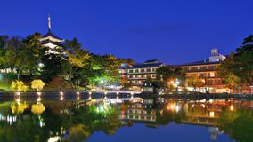 Nara, Japão no lago Sarusawa fotos de stock