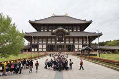 Japan school trip. NARA, JAPAN - APRIL 26, 2012: School tour visits Todaiji Temple in Nara, Japan. Nara is a former capital city of Japan. Currently the largest royalty free stock images