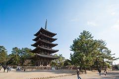 NARA, JAPAN-JANUARY 31, 2016:Old wood pagoda at  Kofukuji temple Royalty Free Stock Images