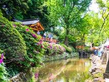 Nara, Japan - Juli 26, 2017: Niet geïdentificeerde mensen die van de mening van een park, met een mooie articificial vijver genie Stock Fotografie